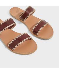 Ancient Greek Sandals Melia Stitch Leather Slides - Brown