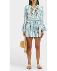 All Things Mochi Marita Striped Jumpsuit - Blue