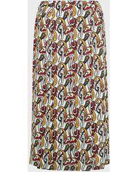 Victoria Beckham Printed Pleated Midi Skirt - Multicolor
