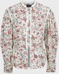 Isabel Marant Cleosi Floral Cotton-poplin Top - Multicolour
