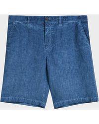 120% CASHMERE Linen Shorts - Light blue
