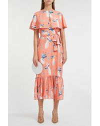 Borgo De Nor Margarita Cape-effect Dress - Orange