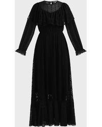 ALEXACHUNG Ruffled Panelled Lace Dress - Black