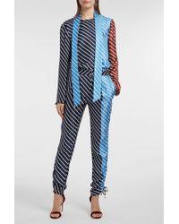 Tibi Delphina Striped Silk-twill Trousers - Blue