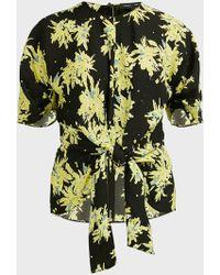 Proenza Schouler Splatter Floral-print Georgette Top - Yellow