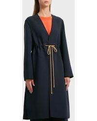 ROKSANDA - Fleur Waist Tie Coat, Size M, Women, Navy - Lyst