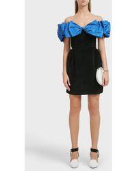 Isa Arfen Bow Wow Off The Shoulder Velvet Mini Dress - Black