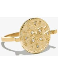 Boutique Ludivine Azlee Compass Coin Diamond Ring - Metallic