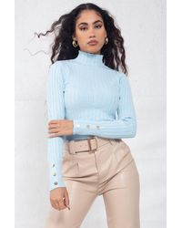 Boutique Store High Neck Cable-knit Cropped Top - Blue