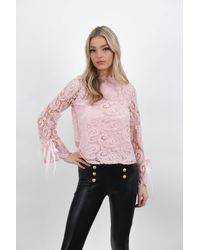 Boutique Store Crochet Lace Long Sleeve High Neck Top - Pink