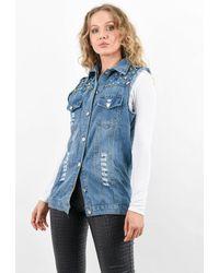 Boutique Store Sleeveless Studded Distressed Denim Jacket - Blue