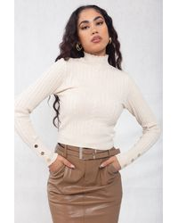 Boutique Store High Neck Cable-knit Cropped Top - Multicolour