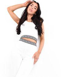 Boutique Store Logo Design Crop Top & Legging Co-ord Set - White