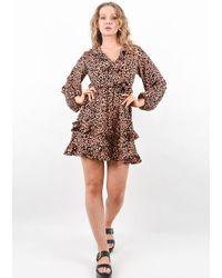Boutique Store - Leopard Print Ruffle Hem Midi Smock Dress - Lyst
