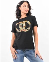 Boutique Store Sequin Embellished Circle Logo T-shirt - Black