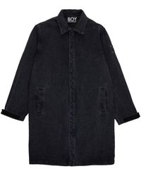 BOY London Boy Denim Photoprint Longline Jacket Black Denim/white