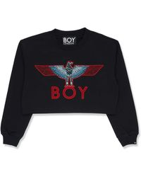 BOY London Boy Eagle Embroidery Crop Sweatshirt Red/blue- Size M - Black