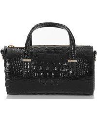 Brahmin Claire Croc Embossed Leather Top Handle Bag - Black