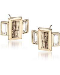 Brahmin Emerald Cut Crystal Earrings - Metallic