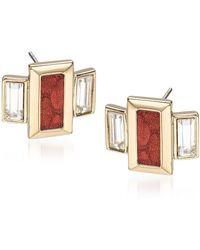Brahmin Emerald Cut Crystal Earrings - Pink