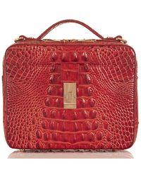 Brahmin Melbourne Collection Evie Top Handle Crocodile-embossed Crossbody Bag - Red