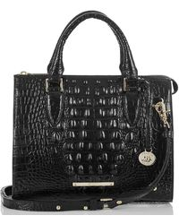 Brahmin Anywhere Convertible Melbourne Embossed Leather Satchel - Black