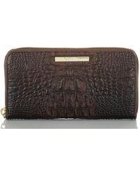 Brahmin Suri Croc Embossed Leather Wallet - Brown