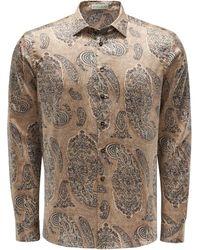 Etro Casual Hemd schmaler Kragen gemustert - Natur