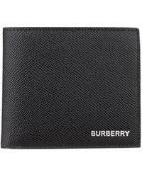 Burberry Faltbrieftasche aus genarbtem Leder - Schwarz