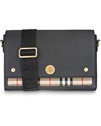 """Burberry Crossbody-Tasche """"Note"""" aus Leder und Vintage Check-Gewebe - Schwarz"""