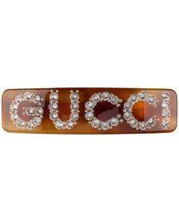Gucci Einzelne Haarspange mit Kristall-Motiv - Braun