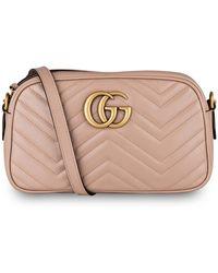 Gucci Kleine GG Marmont Schultertasche aus Matelassé - Mehrfarbig