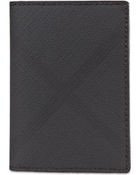 Burberry Faltbares Kartenetui aus London Check-Gewebe und Leder - Grau