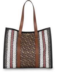 Burberry Small Monogram Stripe E-canvas Tote Bag - Braun
