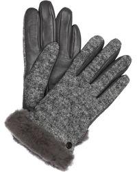 UGG Handschuhe mit Echtfellbesatz und Touch-Funktion - Grau