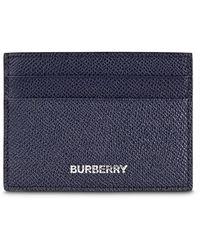 Burberry Kartenetui aus genarbtem Leder - Blau