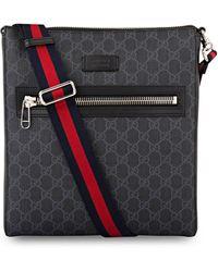 Gucci Schultertasche aus GG Supreme mit Tigern - Schwarz