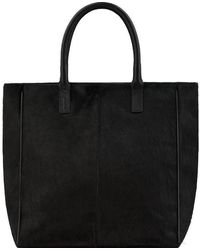 Brix + Bailey Black Large Hair On Hide Leather Signature Tote