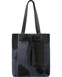 Brix + Bailey Navy Hair On Hide Bow Leather Tote - Blue