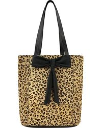 Brix + Bailey Leopard Print Hair On Hide Bow Leather Tote - Multicolour