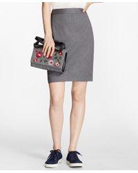 Brooks Brothers - Pinstripe Stretch Wool Pencil Skirt - Lyst