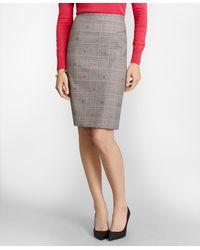 Brooks Brothers Floral Plaid Jacquard Pencil Skirt - Gray
