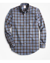 Brooks Brothers - Milano Fit Plaid Brushed Oxford Sport Shirt - Lyst