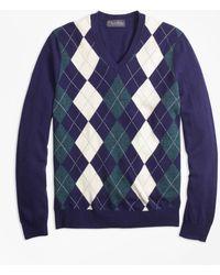 Brooks Brothers - Cashmere Argyle V-neck Sweater - Lyst