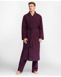 Brooks Brothers Buffalo Check Robe - Purple