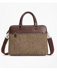 Brooks Brothers Wool Herringbone Briefcase - Brown
