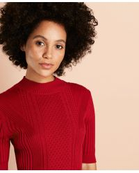 Brooks Brothers - Cable-knit Cotton Mockneck Sweater - Lyst
