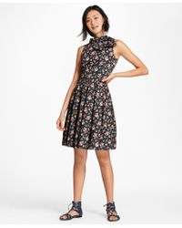 Brooks Brothers - Floral-print Cotton Sateen Pleated Dress - Lyst