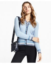 Brooks Brothers - Shimmer-stripe Cable-knit Supima® Cotton Cardigan - Lyst