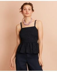 Brooks Brothers Floral Cotton Eyelet Peplum Top - Blue